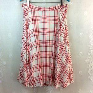 Lulu's Red White Plaid Full Skirt L